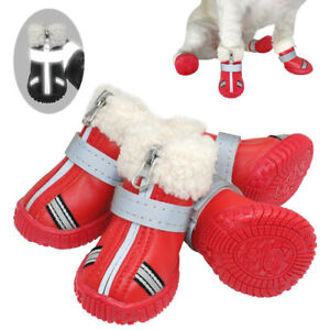 Waterproof Dog Shoes Reflective Anti Slip Winter Boots Warm Fleece Snow Booties