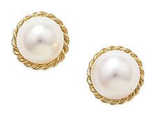 Pendientes de joyería con perlas blancas de oro amarillo