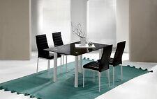 Mesa de comedor fija elaborada en cristal templado color negro 140x90x75 cm