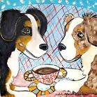 AUSSIE Australian Shepherd dog portrait 13 x 19 PRINT of pop folk art Painting