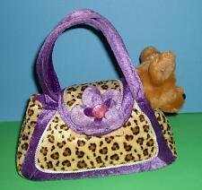 Adorable Aurora Lil Chihuahua Puppy Dog Leopard Print n Purple Purse Carrier 8""