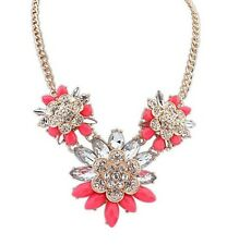Fashion Popular Woman Jewellery Resin Rhinestone Crystal Flower Pendant Necklace