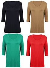 Ladies Ex Marks And Spencer 3/4 Sleeve T-Shirt Blouse Top 4 Colours Size 8-22
