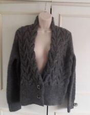 Maglioni e cardigan da donna grigi in misto lana con bottone