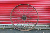 """LARGE Antique Wagon Tractor Wheel Metal 14 Spoke 40"""" Tall Country Decor #2"""
