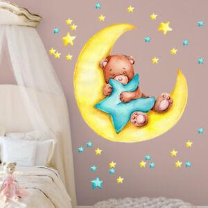 Cartoon Sleeping Bear Moon Star Wall Sticker Baby Nursery Room Decal DIY Decor