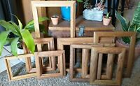 Vintage 9 Wood PICTURE FRAME Lot Recycle Arts Crafts Project Deco geo set