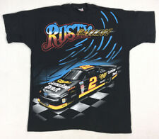 Vintage 1990s Rusty Wallace Nascar T Shirt XL All Over Print Double Sided Racing