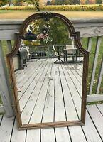 "Vtg Mid Century 70s Retro Wood Look Mirror Ornate Baroque Plastic LARGE 44.5"""