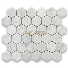 C32XP Carrara White 2 inch Hexagon Mosaic Tile Polished