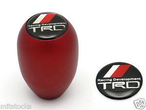 SANDBLASTING RED AT/MT TIPTRONIC TRANSMISSION SHIFT KNOB TRD EMBLEM FOR TOYOTA