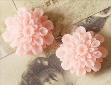 6x Resin Cabochons Blumen zum Kleben 22mm zartrosa tm246