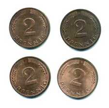 4 x 2 Pfennig Germany 1974 D, F, G, and J m_240