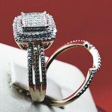 2 Pcs set Ring & Band Propose engagement diamond Gold ring Wedding size 6.5