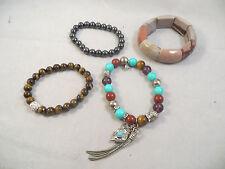 Lot of 4 Hand Made Costume Jewelry Stretch Bracelets