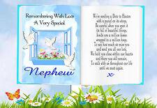 NEPHEW BOOK SHAPED MEMORIAL BEREAVEMENT GRAVESIDE CARD & FREE HOLDER