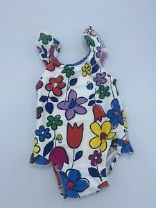 Hanna Andersson baby girl one piece White Floral Swimsuit Swim 3-6 months 60cm