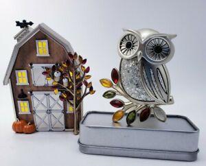 Bath & Body Works White Barn AND Owl Lot of 2 Fall Wallflower Plug-Ins Pumpkin