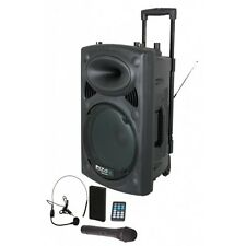 Ibiza Sound Portable Battery Powered Bluetooth PA System 800W Wireless Radio Mic