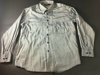 Bugatchi Uomo Mens Gray Front Pocket Button Front Shirt Size Large