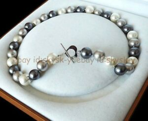 """Charming 8/10/12mm MultiColor South Sea Shell Pearl Round Beads Necklace 18"""""""