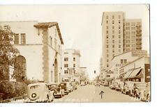 1939 RPPC*WEST PALM BEACH FLORIDA*OLIVE STREET*AMOCO STATION*OLD CARS*REAL PHOTO