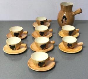 VINTAGE BARDOT COFFEE SET. FAUX BOIS. GRANDJEAN-JOURDAN, VALLAURIS, PICASSO.