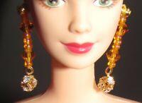JEWELRY EARRINGS MATTEL SYMPHONY IN CHIFFON BARBIE BEADED FAUX DIAMOND ACCESSORY