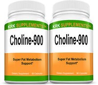 2 Bottles Choline Bitartrate 900mg per serving 180 capsules KRK SUPPLEMENTS