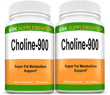 2 Bottles Choline Bitartrate 900mg per serving 180 capsules KRK SUPPLEMENTS