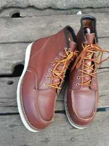 Red Wing Shoes Moc Toe Heritage Boots for Men, Size  9 US Brown