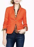 NWT $198 J.Crew Women 2 Poppy Red Stretch Wool Schoolboy Gold Button Blazer