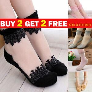 Women Ultrathin Ankle Socks Cute Transparent Crystal Silk Lace Elastic Short UK