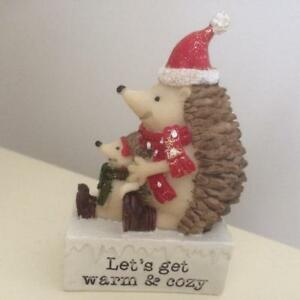 Gorgeous Small Glitter Hedgehog and Baby Freestanding Christmas Decoration