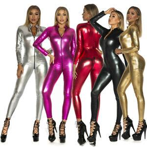 Women Sexy Lingerie Wet look PVC Leather Bodysuit Catsuit Clubwear Costume Zip
