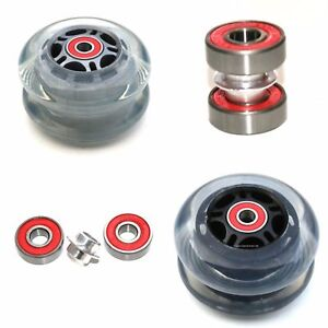 TWO 80mm SCOOTER REAR BACK WHEELS ABEC-9 608rs - COMPATIBLE WITH MAXI MICRO