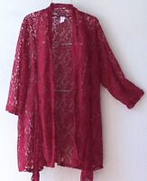 New~Burgundy Red Wine Lace Duster Cardigan Tunic Kimono Boho Plus Size Top~1X