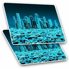 2 x Rectangle Stickers 10 cm - 3D Holographic City Urban #2399