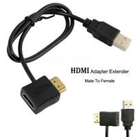 HDMI Male To Female Adapter Connector with 50cm USB Charger Power Supply Cable