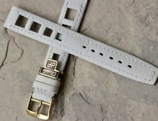 Vintage white 16mm rally watch band all stitched yellow buckle European made NOS