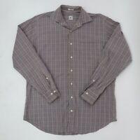 Peter Millar Button-Up Shirt Mens L Large Plaid Tartan Cotton White Brown Blue