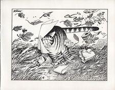 Kliban Cat. March Wind. Vintage 1981 print. 9 x 11
