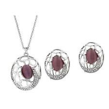 Schmuckset Opal silber hochwertig Damen edel Style Ohrringe Halskette Kette Set