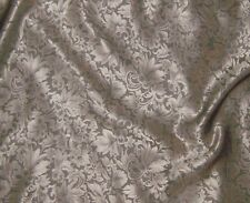"""Silk JACQUARD Fabric BEIGE LEAVES BAROQUE 9""""x22"""" REMNANT"""