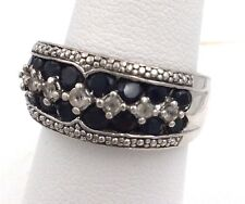 Sterling Silver Cubic Zirconia & Synthetic Blue Sapphire Ring Size 7