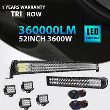 "52"" LED Light Bar +22"" Bumper Lights + 4"" Pods Offroad SUV ATV Ford 52"