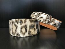 Small-medium Leather Dog Collar Whippet Greyhound Lurcher Saluki LEOPARD PRINT