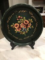 Vintage Round Metal Tole Tray Dark Green Gorgeous Hand Painted Flowers Roses