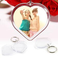 100Pcs Acrylic Plastic Blank Clear Keyrings Heart Shape Photo Key Rings UK