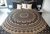 Indian Black Gold Mandala Tapestry Hippie Wall Hanging Queen Bohemian Bedspread